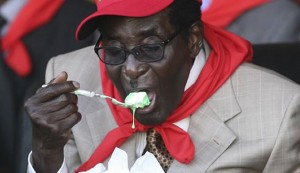 Partying while his people suffer ... President Robert Mugabe