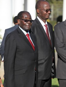 Who is fooling who? ... President Robert Mugabe with higher education minister Jonathan Moyo