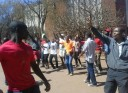 Defiant ... Youths singing on Friday