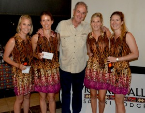 Best Dressed Winners: The Ambrose African Birds (left to right) Sjaan Sykes, Keara O'Toole, Tash Zelow and Jenna Van Niekerk, pictured with Africa Albida Tourism chief executive Ross Kennedy.