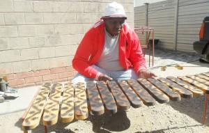 Nkululeko Ndlovu busy working on his set.