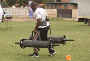 Runganga Munyaradzi hard at training.