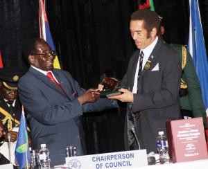 President Robert Mugabe and Botswana's President Ian Khama.