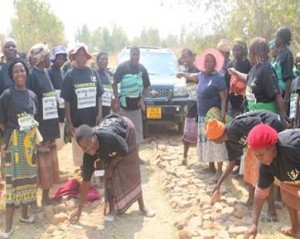 Women who are part of a Community Peace Club established by HZT in Chiweshe repairing a road during a collaborative neutral platform (nhimbe)