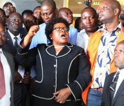 ZPF leader Joice Mujuru addressing her supporters