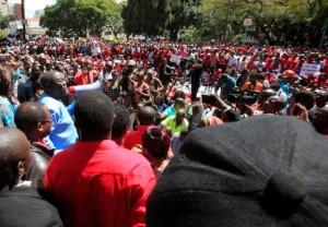 The speech ... Tsvangirai addressing marchers at Africa Unity Square