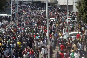 Thousands of Zanu-PF youths march in Harare.