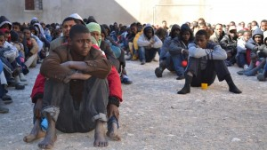 Detainees at a migrant jail in Libya