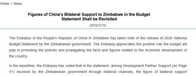 China criticises Zim govt for giving inaccurate figures of it's bilateral support to Zimbabwe